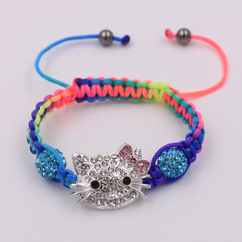 1PCS/LOT Cute hello kitty kids shamballa bead bracelets & bangles handmade DIY children bracelets for girls christmas gift(China (Mainland))
