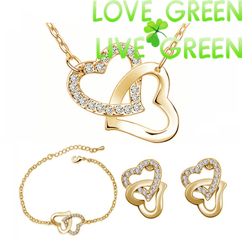 free shipping 18k yellow gold plated double heart locket charm birthday Gifts Czech fashion necklace earring Jewelry Sets woman