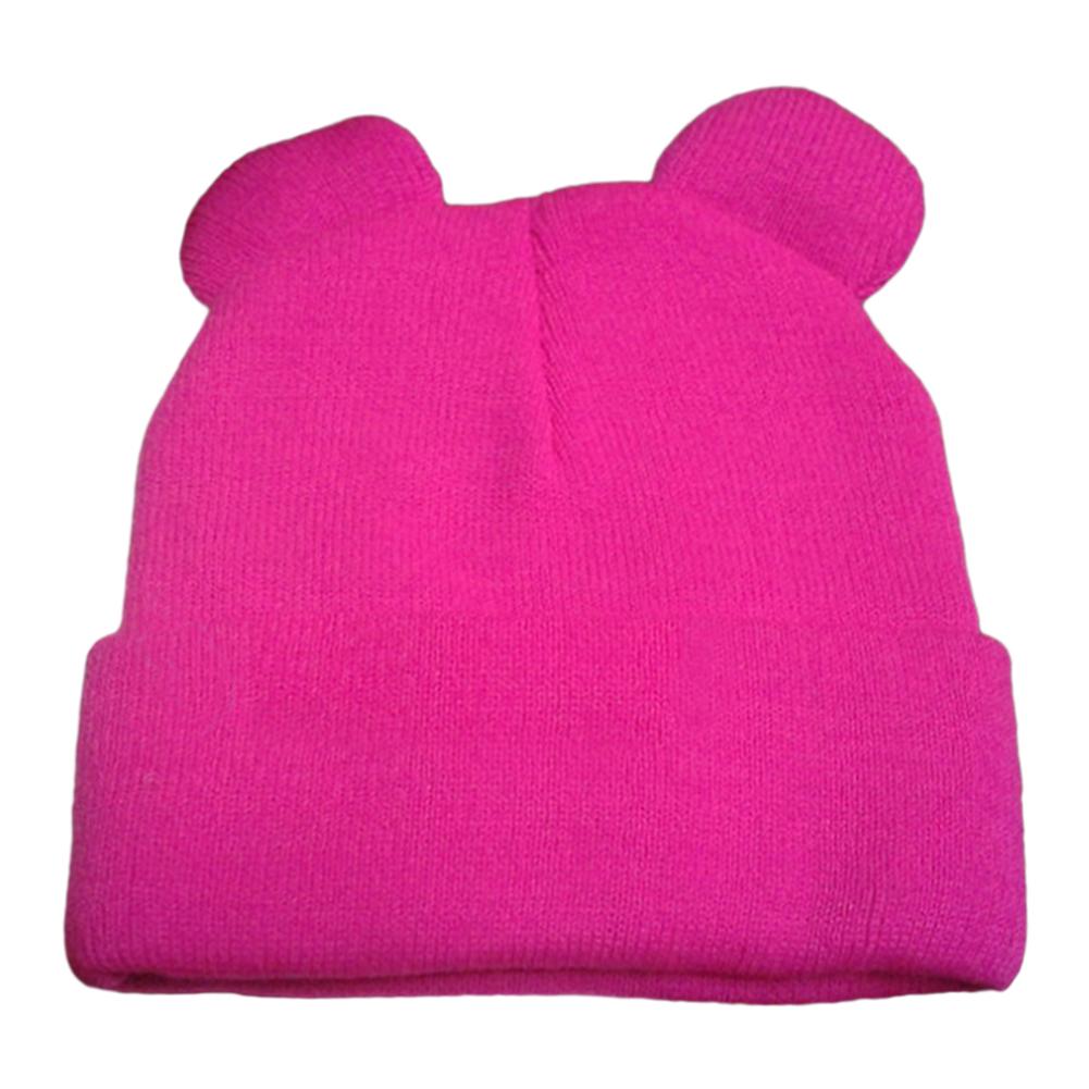 6 Colors New Fashion Winter Women's Cat's Ears Hat Knitted Fur Warm Woman Caps Beanies Hats Skullies Casual Bonnet Gorros