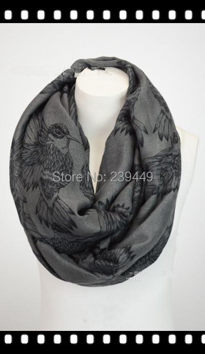 Gros blanc Vintage grand pic oiseaux imprimer écharpe châle wrap, Léger mesdames accessoires jour d'anniversaire cadeau de noël(China (Mainland))