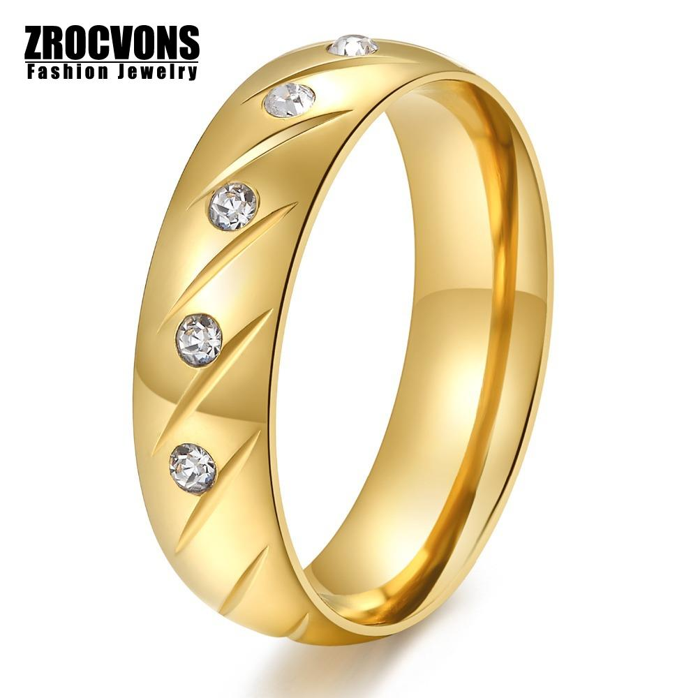 Fashion Women Wedding Rings 18K Gold Plated Crystal Rings for Women and Men Jewelry Stainless Steel Ring with AAA CZ Stone(China (Mainland))