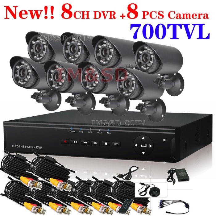 New 8ch CCTV System 8ch DVR Kit with 8pcs 700TVL IR Bullet Outdoor Cameras IR Cut 8ch CCTV DVR Recorder, Security Camera System<br><br>Aliexpress