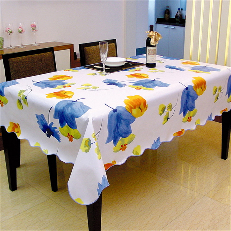 YD Europe waterproof table cover lily plastic PVC tablecloth No-clean oilproof dining table cover table cloth table dining(China (Mainland))