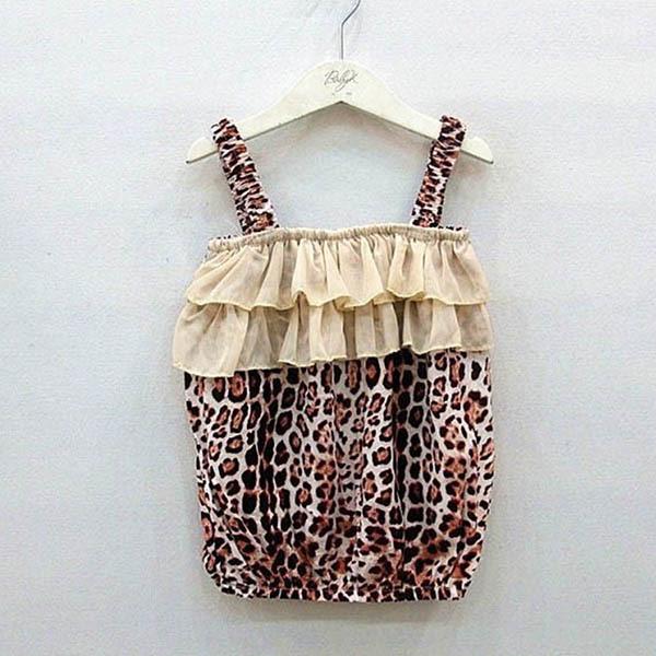 Cotton & Silk Baby Girl Kids Children Leopard Vest + Pants Clothes 2Pcs Suit Outfits Sets 2-6Y New