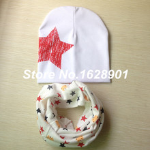 retail and wholesale New style beautiful style baby hat cotton scarf infant hats set child caps scarf baby cap(China (Mainland))