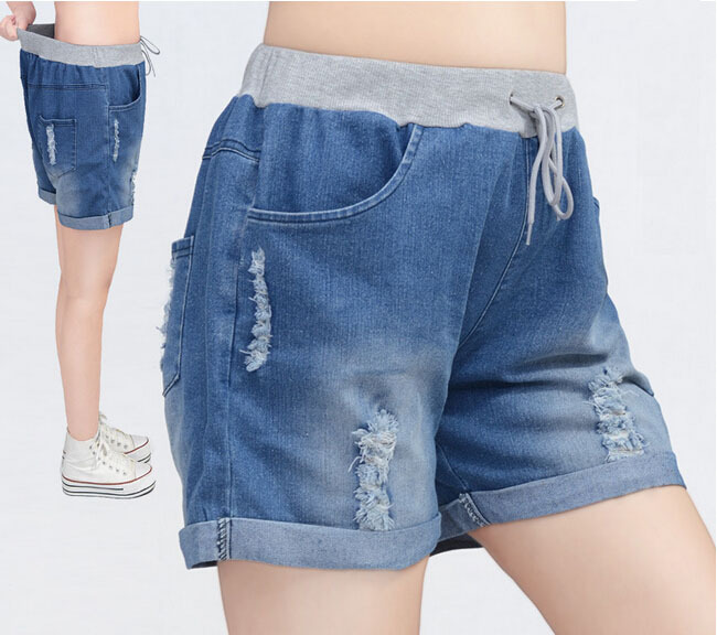 New Big Size Fat Hole Leisure Loose Jean Shorts Womens Casual Stretch Rolled Cuffs Loose Jean Denim Shorts,Vintage Shorts 4XL(China (Mainland))