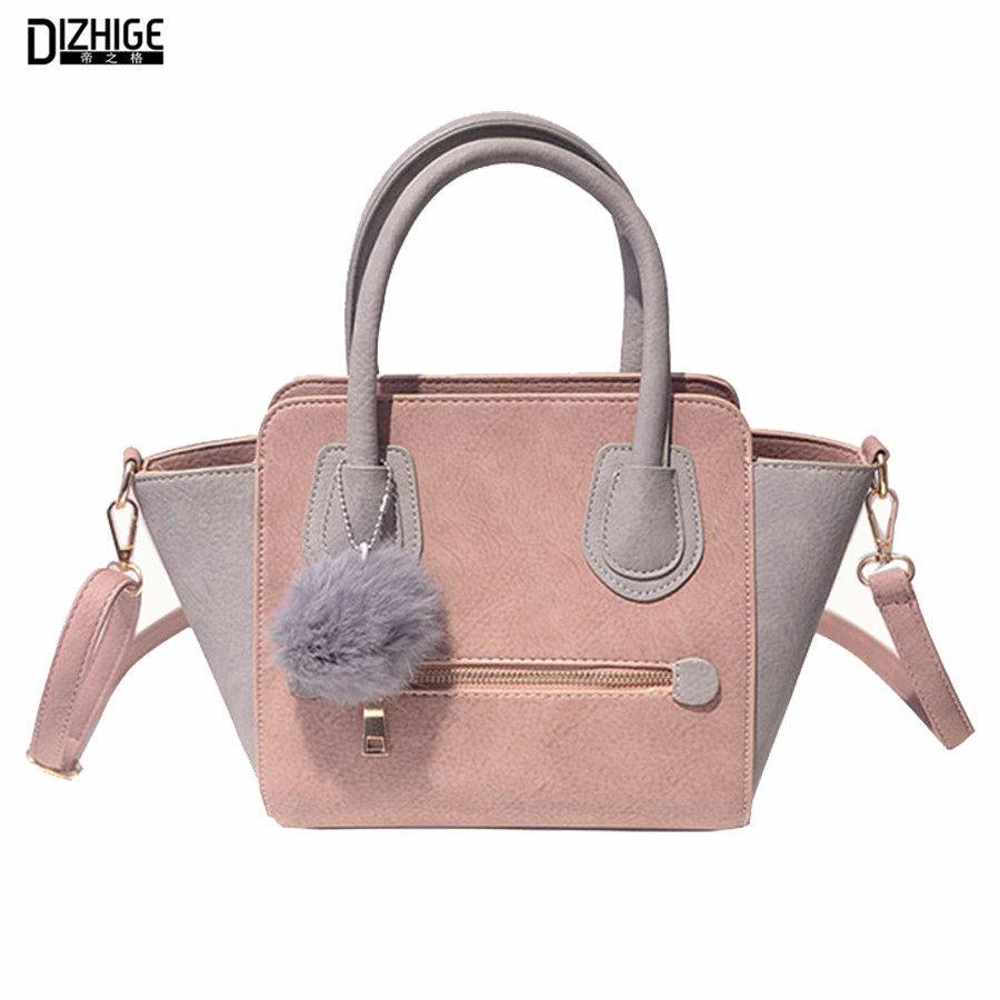2016 Spring Smiley PU Leather Tote Bag Women Trapeze Fashion Designer Handbags High Quality Ladies Bags Vintage Crossbody Bags(China (Mainland))