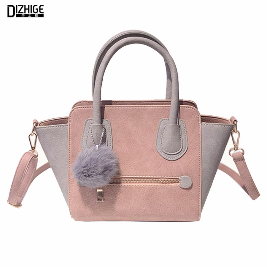 2016 Spring Smiley PU Leather Tote Bag Women Trapeze Fashion Designer Handbags High Quality Ladies Bags Vintage Crossbody Bags(China (Mainland))
