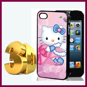 New Arrival 3D Effect Cell Phone Case Girly Hello Kitty Prints Pink Style Cover Case for iPhone 5c Accessories Hard Matte(China (Mainland))