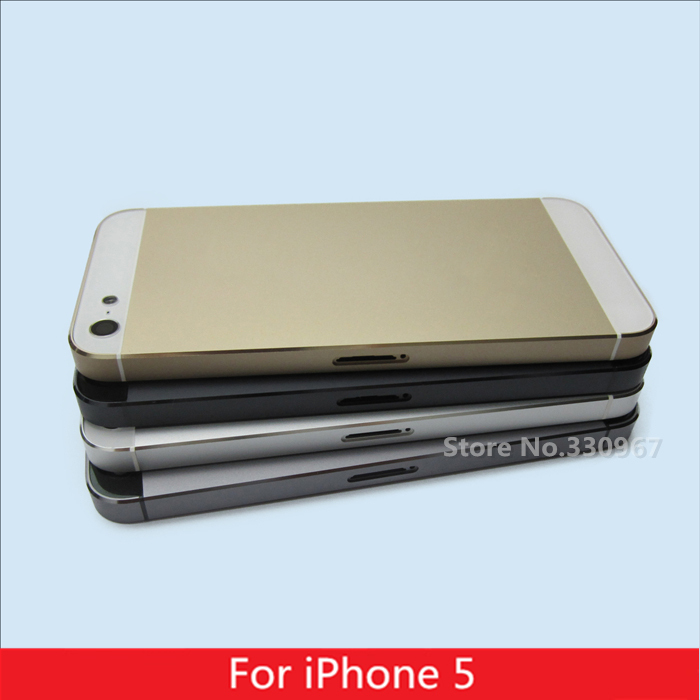 Gold Grey Black White color Replacement part Full Housing Back Battery Cover Middle Frame Metal Back Housing For iPhone 5(China (Mainland))