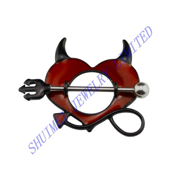 SHUIMEI Pair Devil Horn Pitchfork Nipple Shield Cover Rings Barbell Dangle Piercing Body Jewelry Sexy 2015 Free Shipping(China (Mainland))