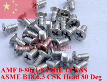 Stainless Steel screws 0-80x1/8 Flat Head 18-8 SS ROHS - ChinaTiScrew store