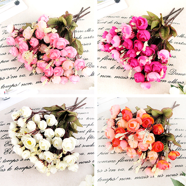 Artificial Red Rose Spring Silk Flowers 18 Flower Heads Camellia Magnolia Floral Wedding Peony Bouquet Decor