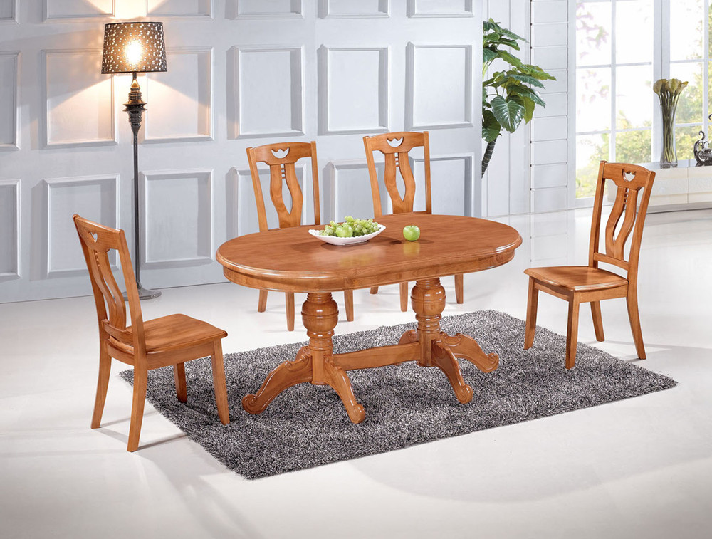 Factory direct oak dining tables and chairs with a for Solid wood dining room table and chairs
