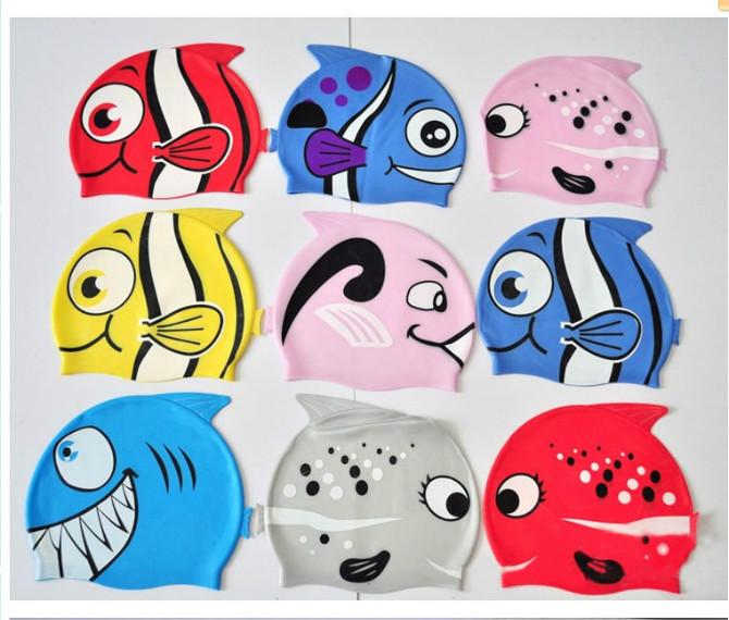 lovers swimwear Cartoon child swimming cap fish swimming cap silica gel swimming cap patterers kids swim cap(China (Mainland))