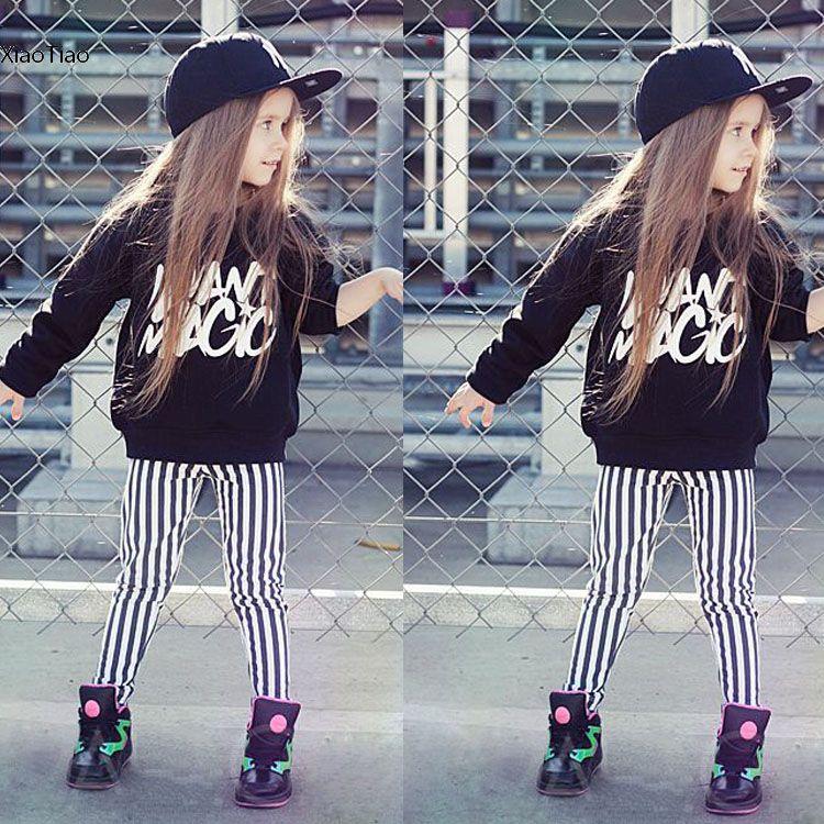 Cute Kids Girls Two Pieces Clothing Set O-Neck Long Sleeve Print Tops Striped Pants - Xiao Tiao store