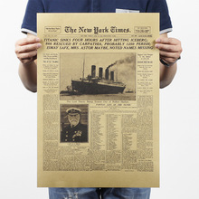 New York Times Titanic Retro Movie  Poster Kraft Paper Home Decorative Painting Drawing Mural Wall Background Hang Picture Photo(China (Mainland))
