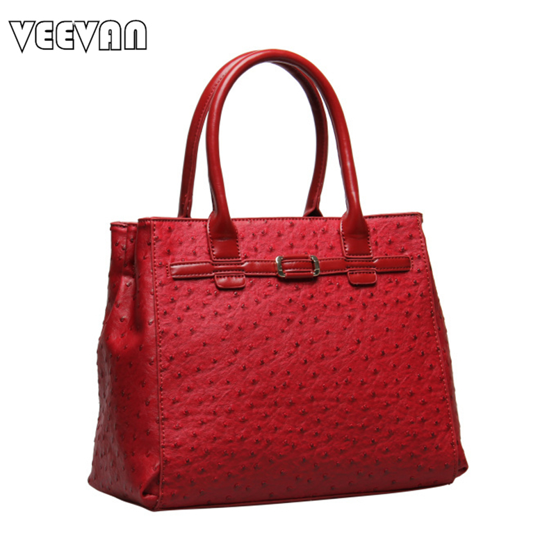 VEEVAN 2017 Office Ladies Handbags Women Leather Shoulder Bags Fashion Designer Ostrich Tote Bags Female Handbags Famous Brands(China (Mainland))