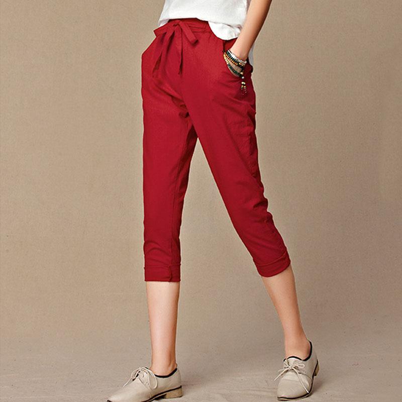 2016 summer new women's casual pants capris fashion cotton ...