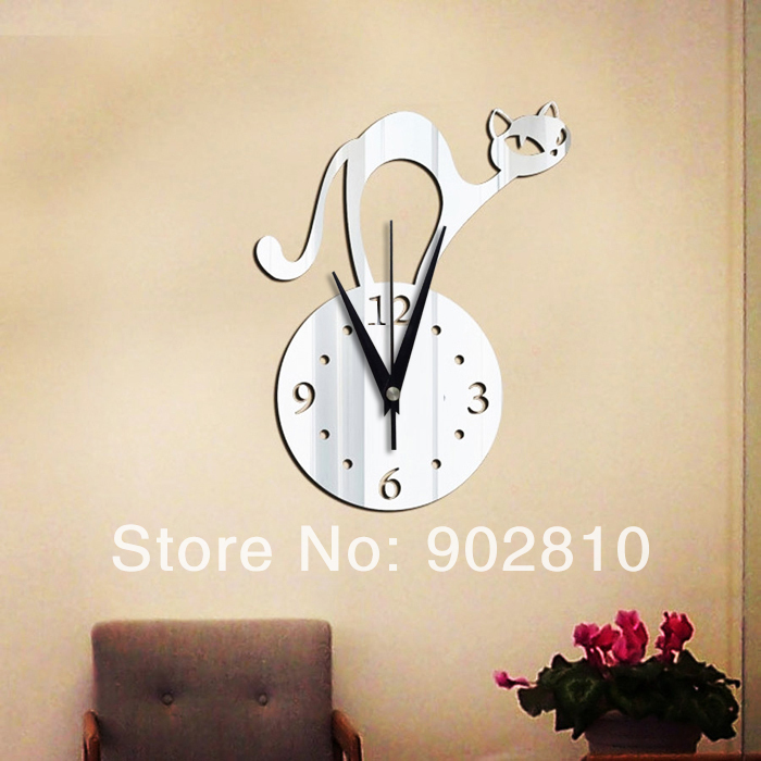 [listed in stock]-28x37cm(11x15in) Modern Abstract Cat Wall Clock Kitchen Mirror Sticker Home Decoration (wc1349)(China (Mainland))