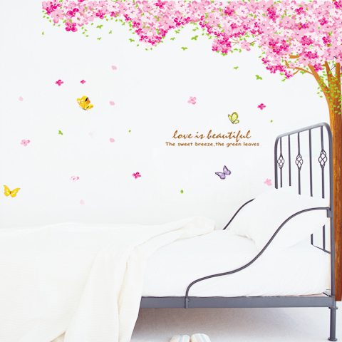 Free Shipping Wall Decal Super Large Creative Cherry Tree Waterproof PVC Wall Stickers Eco Friendly Home Decoration AM9003B(China (Mainland))