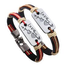 New Genuine Leather Bracelets Arrow Cross Heart Love Bracelets For Couples Pair Bracelets jewelry Women Men Gift For Couples(China (Mainland))