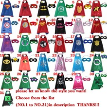 50 conjuntos - les enfants super - héros capes Halloween noir super hero cape Superman Spiderman pour Cosplay parti enfants 50 / set(China (Mainland))