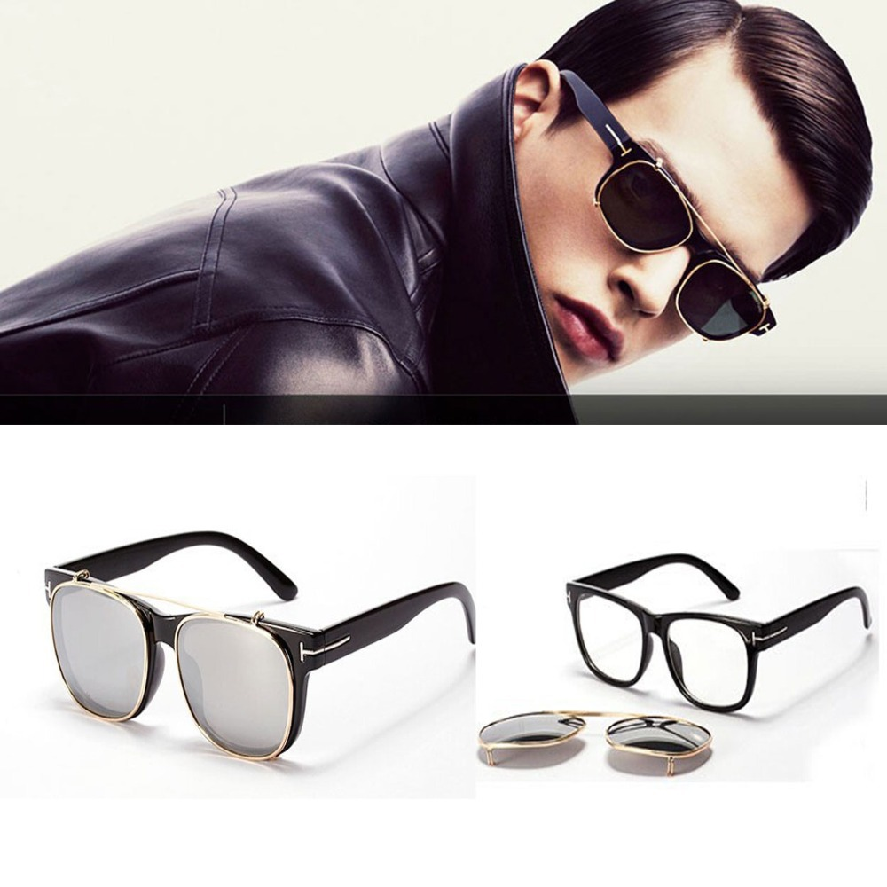 Cool Clip On Sunglasses Men 2015 New Fashion Vintage Female Mirror Sun Glasses Women Brand Designer Steampunk gafas desol Points(China (Mainland))