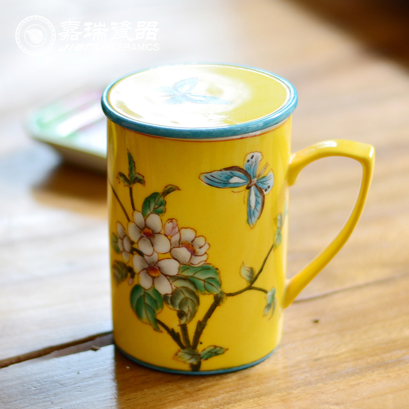 Creative With Lid China Ceramic Coffee Mugs Confederate Birds Blue&Yellow Porcelain Tea Cup(China (Mainland))