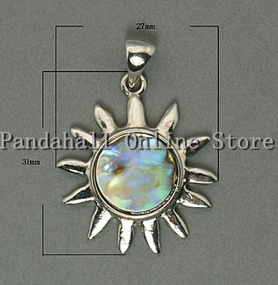Fashion Sun Paua Shell Necklace Pendant, with Brass Pendant Settings, Lead Free and Nickel Free, Colorful, hole: 4 mm(China (Mainland))