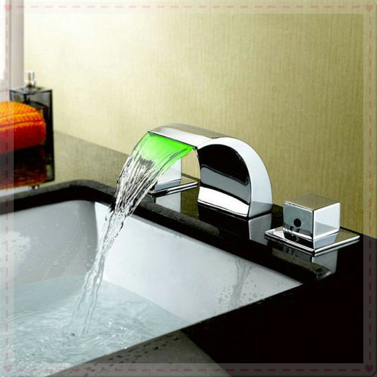 new brand chrome bath tap mixer shower set waterfall 3 pieces led faucet waterpowered GJ626 vasos for jillkets electric water he(China (Mainland))