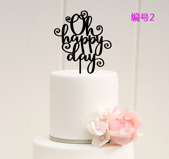 Personalized Happy Birthday Name Cake Topper Acrylic Initial Cake Topper 6 types Birthday Cake Banner(China (Mainland))