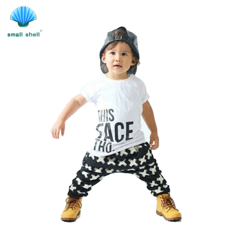 small shell 2016 summer style children kids clothing sets baby girls boys clothes suits Cool fashion man 2PCS F0024(China (Mainland))