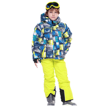 2016 boys ski suits waterproof jackets+pant kids clothing sets children winter snow suit outdoor wear warm sports suits(China (Mainland))