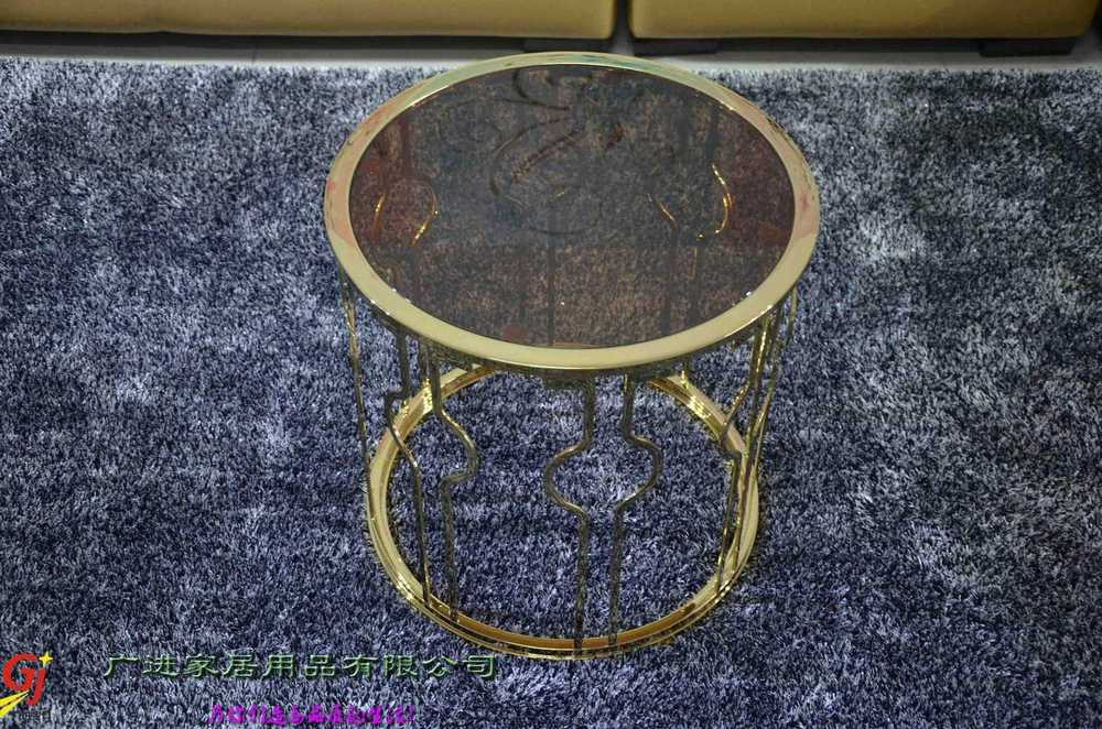 Fashion rose gold stainless steel corner a few small round for Rose gold round coffee table