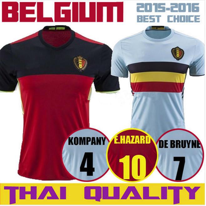 top Thai Quality 2016 2017 Belgium Soccer jersey EDEN HAZARD DE BRUYNE KOMPANY VERMARLEN LUKAKU euro cup Belgium Football shirt(China (Mainland))