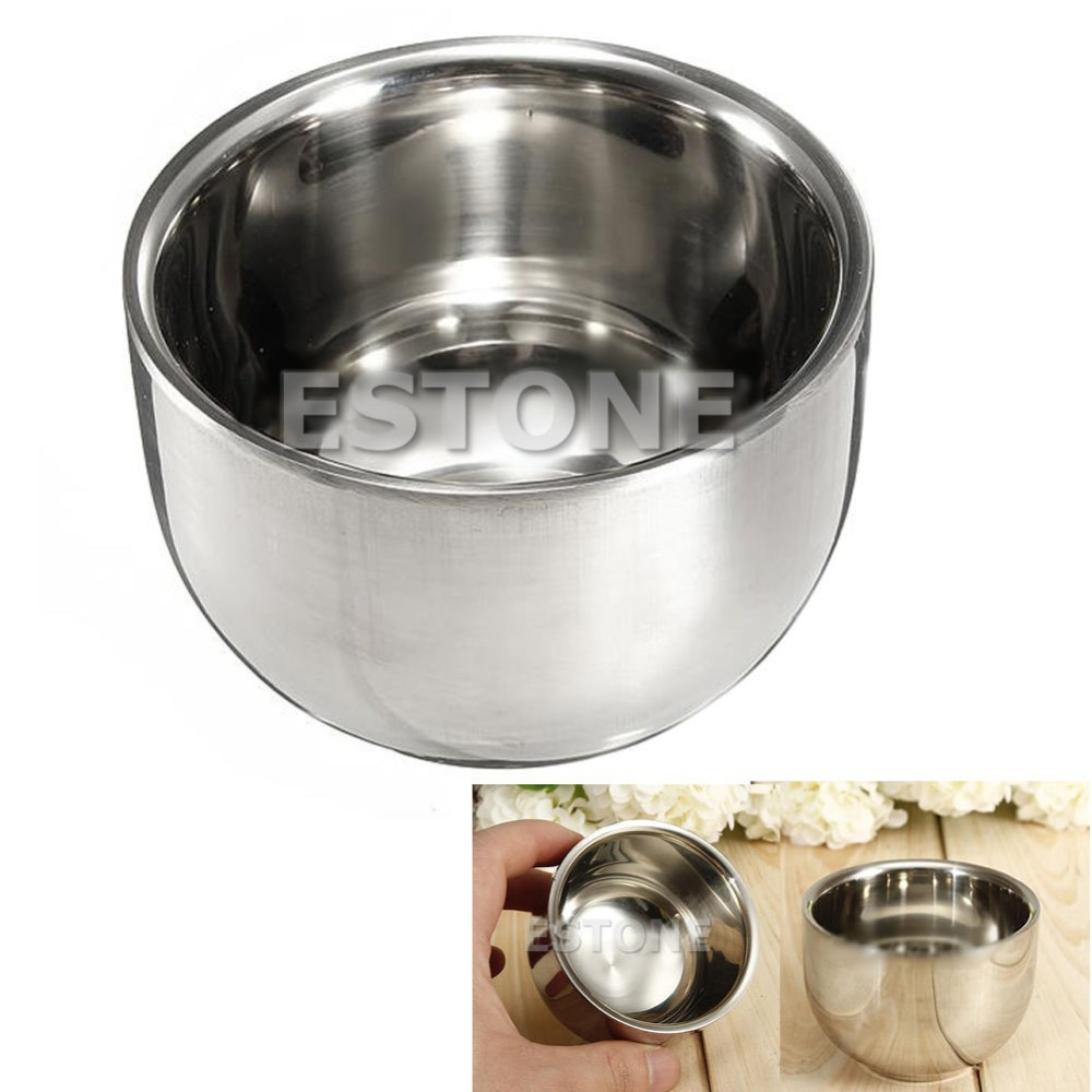 Free Shipping New 7.2cm Stainless Steel Metal Shaving Men's Mug Bowl Cup For Shave Brush(China (Mainland))