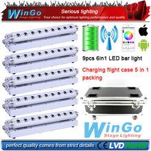 6 in 1 LED Battery Powered Wireless DMX bar light / RGBWA UV battery powered wireless dmx led wall wash light 5XLOT(China (Mainland))