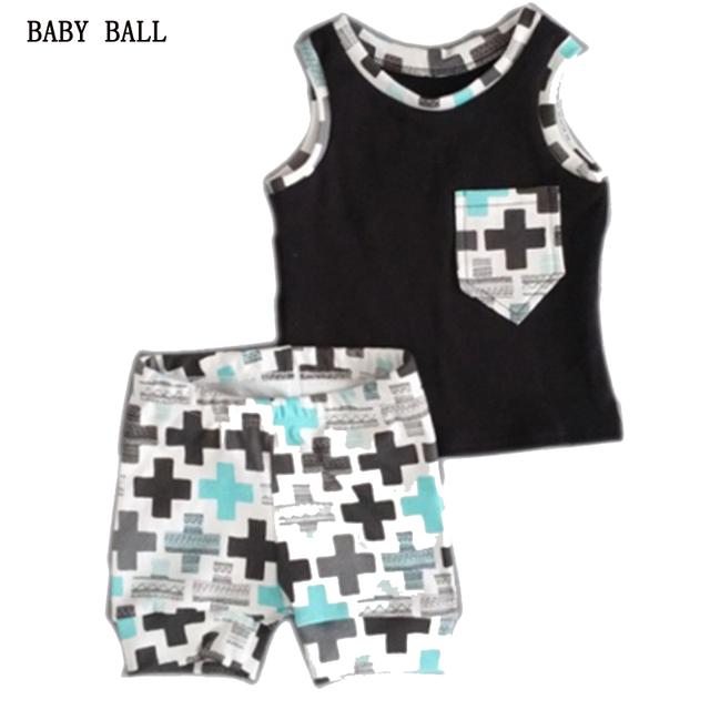 2016 новый летний детская одежда установить для мальчиков установить мода печать ...