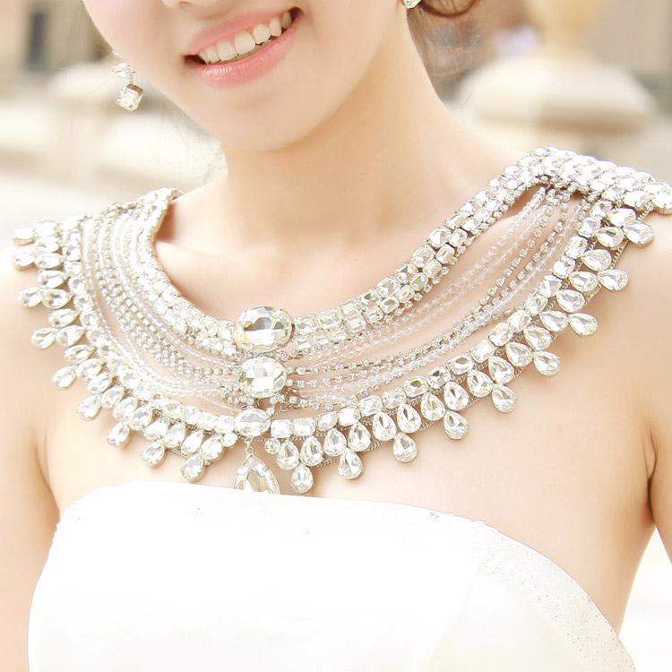 Wedding vintage jewelry women long crystal necklace chain ...