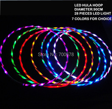 Colorful foldable LED HULA HOOP diameter 90cm 28pcs LED light performance & sport equipment weight lose 8 colors for choice(China (Mainland))