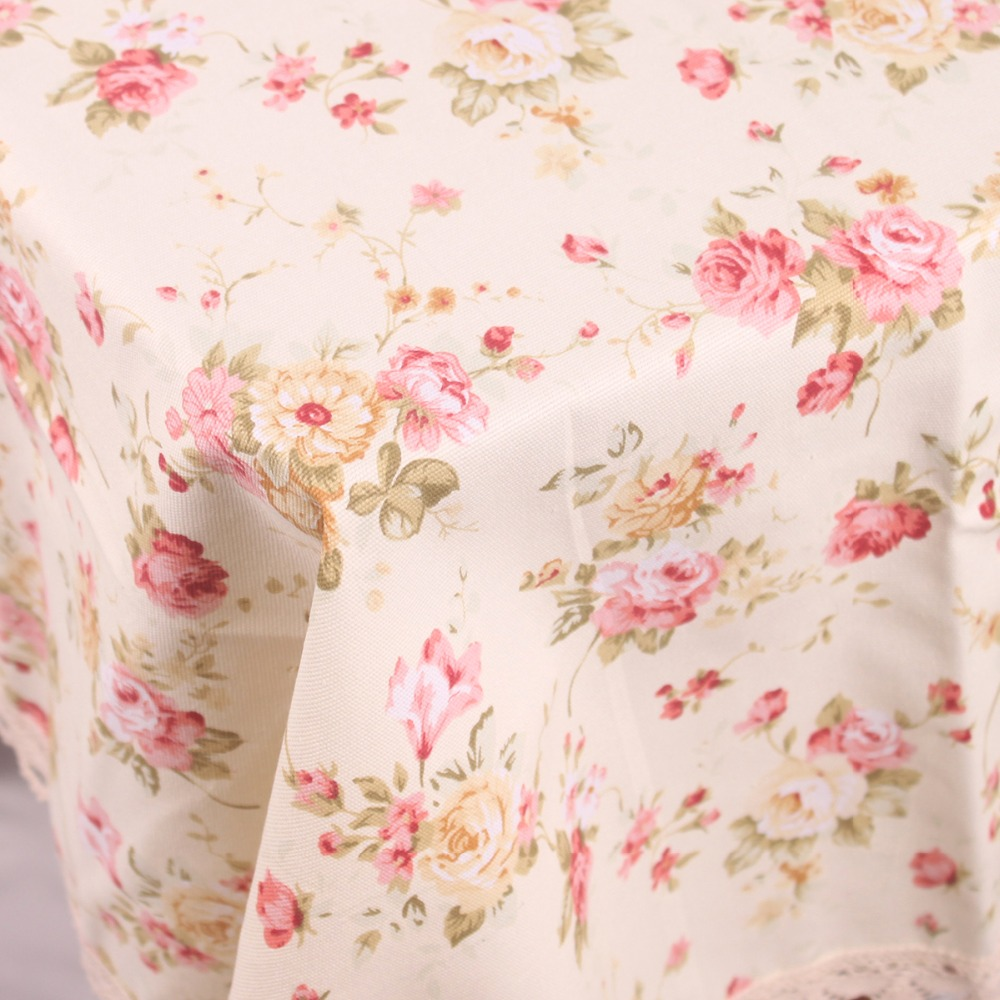 Pastoral Red Florets Cotton Beige Table Cloth for Dinning Table / Leisure Country Life Lace Tablecloth for Tea Tables Free Ship(China (Mainland))