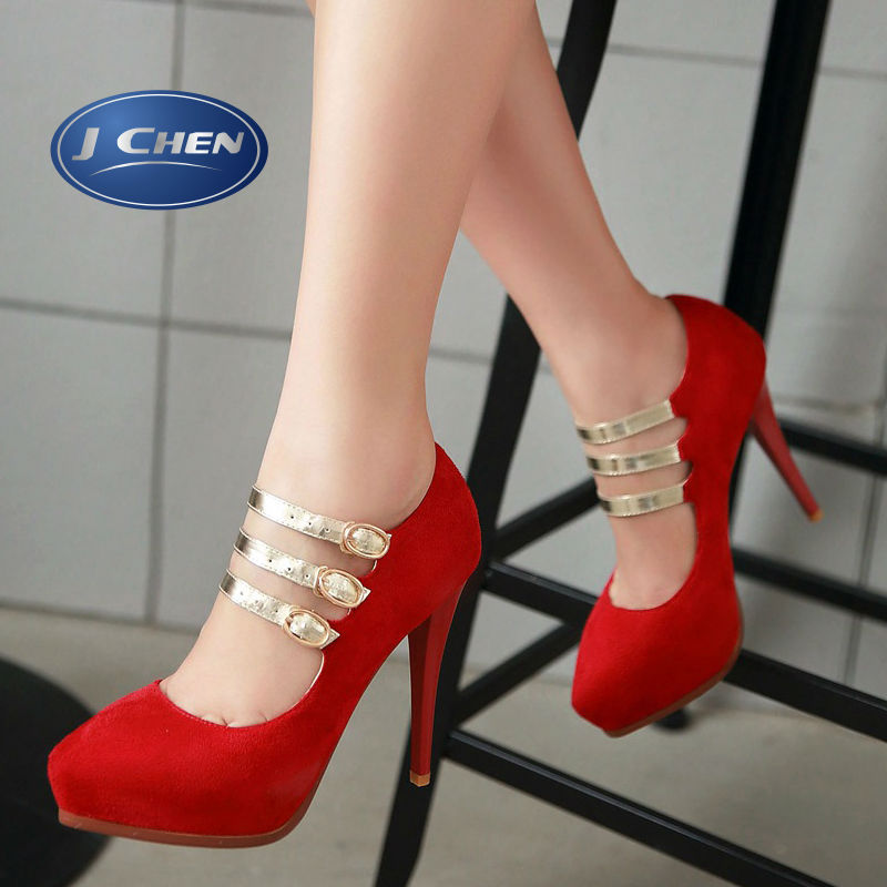 2016 spring mary janes pumps thin heels shoes golden silver pointed toe waterproof woman big size 40 41 42