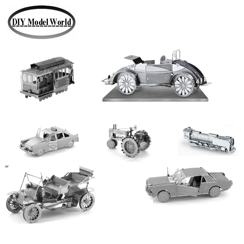Metal Earth 3D Model Kits 7 Vehicles:Cable Car,Beach Buggy,Checker Cab,Steam Locomotive,Ford Model T, Farm Tractor,Ford Mustang(China (Mainland))
