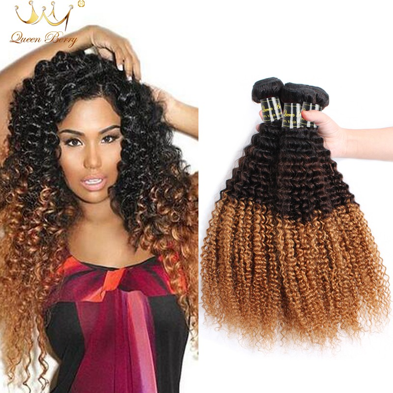 Afro Kinky Curly Hair 8A Grade Ombre Unprocessed Mongolian Kinky Curly Virgin Hair Weaves 1pc/lot Human Virgin Hair Extensions