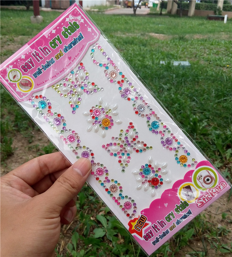 Children's toys Butterfly flowers sticker Mobile Phone Diy decal crystal Diamond Self-adhesive Rhinestones Scrapbooking(China (Mainland))
