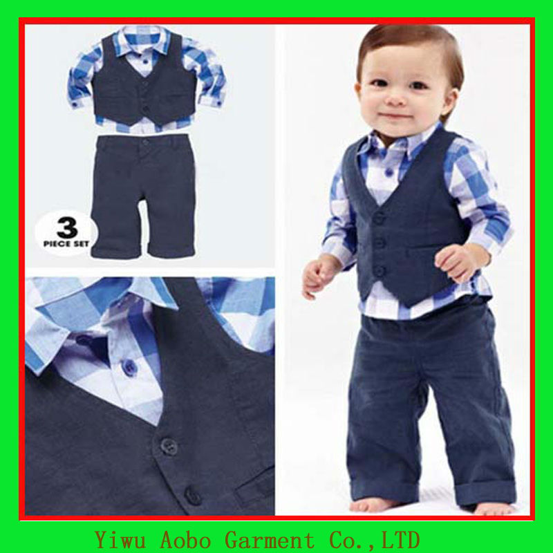 Preppy boys baby formal wear boys formal vest and blouse