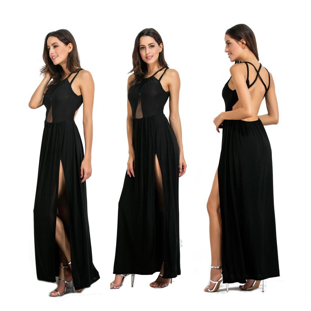 2019 летнее женское платье сексуальная с бретельками длинная однотонная 5