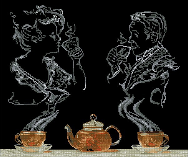 Top Quality hot selling beautiful counted cross stitch kit tea illusion fantasy fancy dream coffee(China (Mainland))