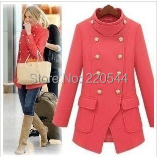2014 autumn winter women fashion medium-long double breasted plus size woolen outerwear overcoat